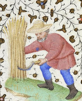 picture of a medieval straw hat, basically just a very simple and plain straw hat without any embellishments.